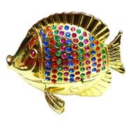 """Шкатулка со стразами """"Рыба с разноцветными камнями"""""""