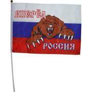 "Флаг ""Вперед Россия с медведем"" 16х24 см, 12 шт/бл"