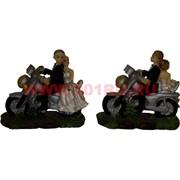 Жених с невестой на мотоцикле (KL-1086) полистоун (180 шт/кор)