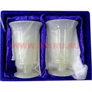 Набор из 2 бокалов 12 см (3х6)  из белого оникса в бархатной коробке
