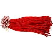 Красная нить тонкая + бусина розовый кварц (цена за 100 шт)