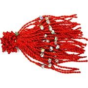Красная нить с бусиной и цветными стразами (1530) цена за 100 шт