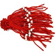Красная нить с бусиной и стразами (1530) цена за 100 шт