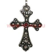 Крест из металла (мельхиор) 8 см с камешком
