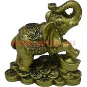 Нецке, слон из полистоуна (90B) с ногой на слитке 9 см высота