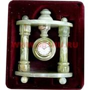 """Часы из оникса """"Круг"""" с колоннами 20 см"""