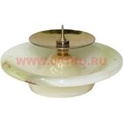 """Подсвечник из оникса """"тарелка"""" с металлической иглой (7,5 см диаметр)"""
