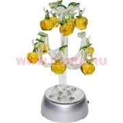 Кристалл «яблоки» 19 см на подставке с подсветкой (цвета миксом)