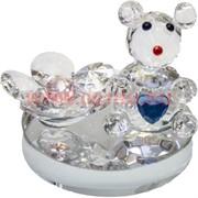 Мышка стеклянная с сердечком и цветком 5 см