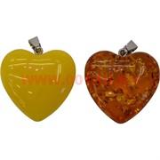 Сердца из янтаря (пластмассовые) 3,2х3,5 см
