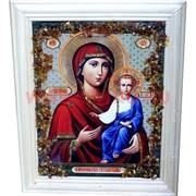 """Картина из янтаря """"Икона"""" в простой раме 14х17, лики в ассортименте"""