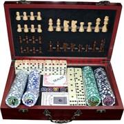 Набор игр 6 в 1 (200 фишек покерных, шахматы, домино, карты)
