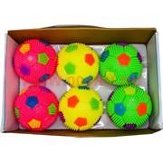 """Мячики светящиеся 100 мм 6 шт (144 шт/кор) цена за 6 шт """"футбольные"""""""