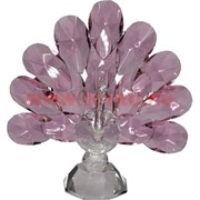Павлин из стекла 12,3 см 4 цвета (белый, розовый, зеленый, синий)