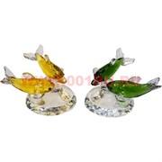 Кристалл «2 дельфина с бриллиантом» 5х9 см (5 цветов)