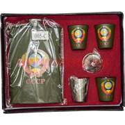 Набор Фляга 9 унций (005-C) СССР и 4 стаканчика
