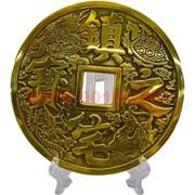 Монета бронзовая 13 см диаметр на подставке