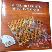 Набор игр 3в1 рюмки на стеклянной доске 35 см