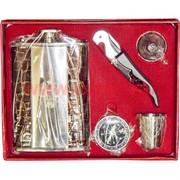 Набор Россия Фляга 9 унций (нож-штопор, компас, стаканчик, лейка)