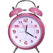 Часы-будильник большой розовый (26 см высота) на 3 ААА батарейки