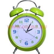 Часы-будильник большой салатовый (26 см высота) на 3 ААА батарейки