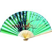 Веер 50 см шелковый зеленый (рисунки в ассортименте)