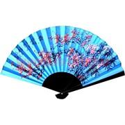 Веер 50 см шелковый голубой (рисунки в ассортименте)