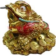 Нэцке, Жаба с монетами большая 21 см, под золото