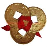 Три монеты для кошелька золотые 4см