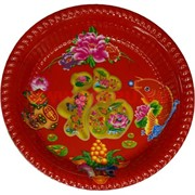Поднос (блюдо) пластмассовый с рисунками круглый 30 см