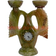 Подсвечник на 2 свечи 16 см с часами из оникса (Пакистан)
