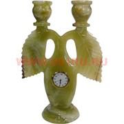 Подсвечник на 2 свечи 22 см с часами из оникса(Пакистан)