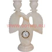 Подсвечник на 2 свечи 22 см с часами из белого оникса