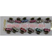 """Заколка """"краб"""" 4 цвета со стразами (KR-809) цена за 12 шт"""