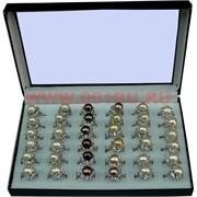 Кольцо с жемчугом (крупный) и стразами, 10 размеров, цена за 36 шт