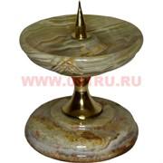 Подсвечник из оникса 10 см с металлическим стержнем для свечи