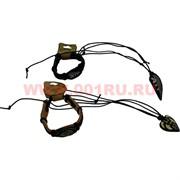 Браслет кожаный+подвеска на шею из кости, цена за уп из 120 штук