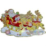 "Картинка (DM-5) С Новым Годом ""Дед Мороз на санях"" цена за 10шт"