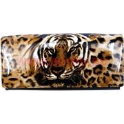 Кошелек женский Gesi с тиграми, лак, кнопка