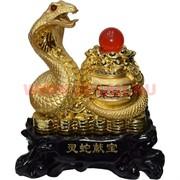 Змея под золото 27 см с горшком изобилия на подставке
