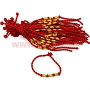 Браслет на руку 100 шт «красная нитка + 3 бусины овальные» цена за 100 шт