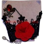 "Набор ""Тесемка"" с розой: браслет + кольцо, цена за 12 шт/уп"