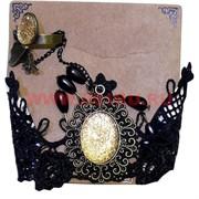 """Набор """"Тесемка"""" с золотым камнем: браслет + кольцо, цена за 12 шт/уп"""
