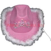 Шляпа с пухом светящаяся розовая