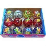 Мячик светящийся 75 мм с дождиком и рыбками (1000), цена за 12 штук