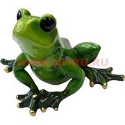"""Лягушка зеленая """"квакушка"""" (NS-301) из полистоуна 11,5 см высота"""