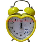 "Часы будильник ""сердце"" кварцевые 3 цвета"