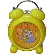 Часы будильник круглые кварцевые 3 цвета