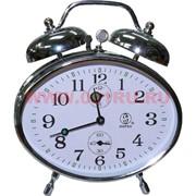 Часы будильник механические хронограф серебрянный