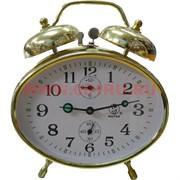 Часы будильник механические хронограф золотой